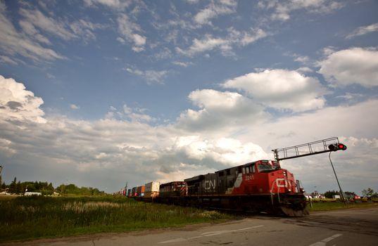 Train at road crossing