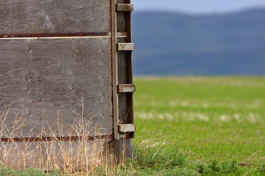 Old grain bin in field