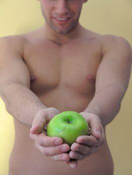 Man hold apple