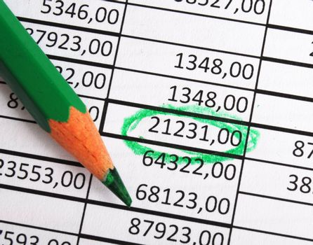 business numbers and pen showing growth accounting or financial success concept