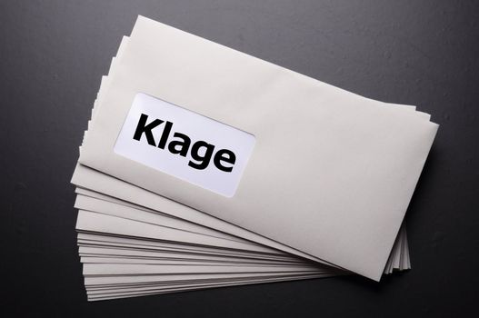 legal law or lawsiut business concept with envelope and word
