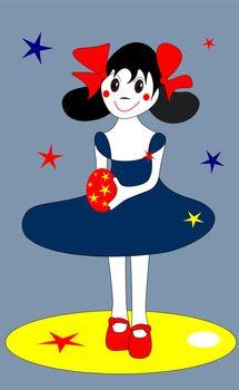 Vector illustration girl holding an easter egg