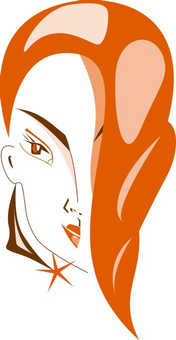 Vector illustration of pretty girl with red hair