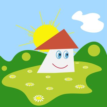 Vector illustration of smiling house on the green meadow