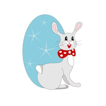 Easter illustration, bunny and blue easter egg