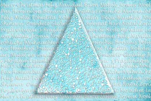 abstract Christmas tree with Christmas greetings background in multiple languages