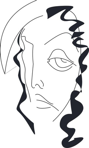 Vector illustration of Narcissus in black and white