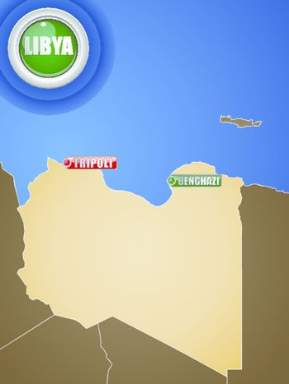 Libya War Map with Cities Tripoli and Benghazi