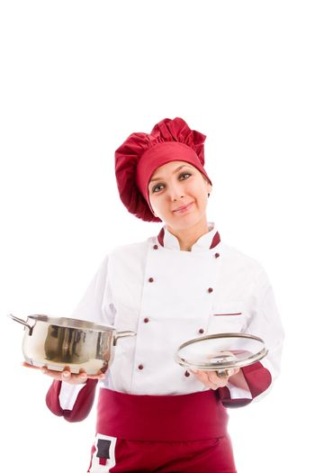 Chef with pot in her hands