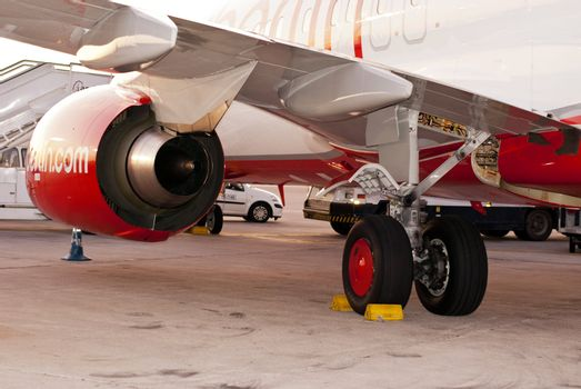 MAJORCA, SPAIN - CA SEPTEMBER2011: Air Berlin airplane on the parking position in September 2011 at the Majorca airport