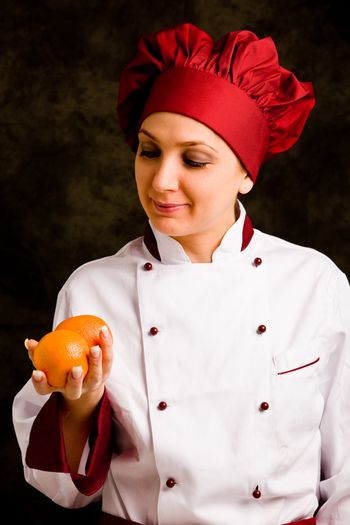 Chef is controlling orange quality