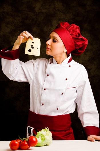 Chef is controlling cheese quality
