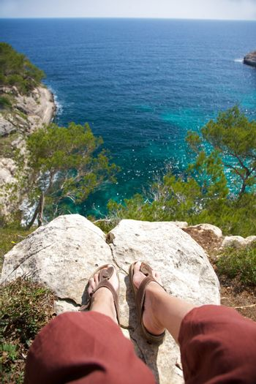 sandals and Mediterranean sea