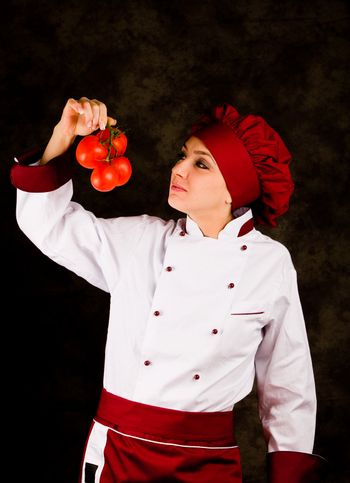 Chef is controlling tomato quality