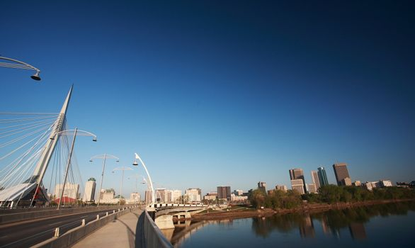 Reflections of Winnipeg from the Red River