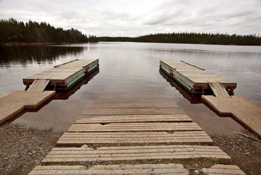 Boat ramp and docks on Northern Manitoba lake