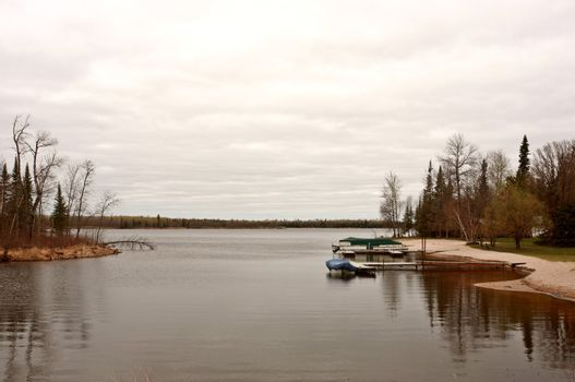 Boat docks on Northern Manitoba lake