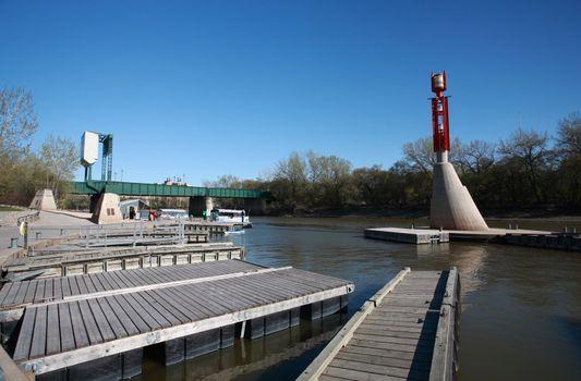 Boat docks on Red River in Winnipeg