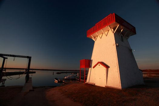 Lighthouse and marina at Hecla in Manitoba