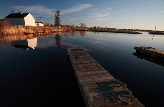 Boat docks and buildings at Hecla in Manitoba