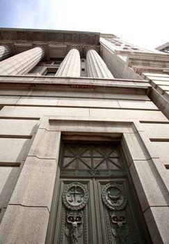 Unique doors on old Court House in Winnipeg