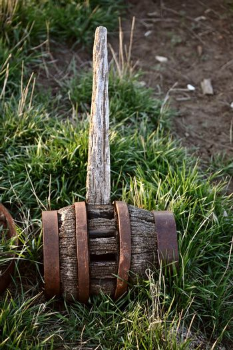 old wooden mallet left as junk