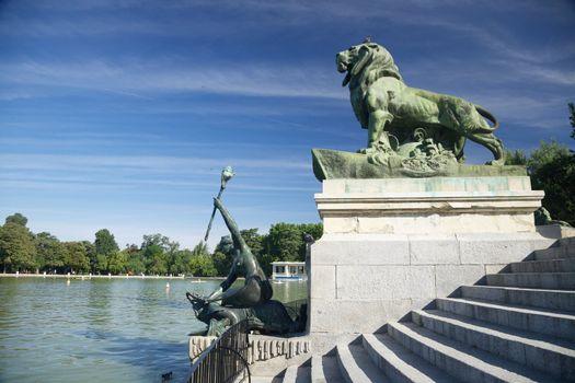 next to El Retiro pond in Madrid