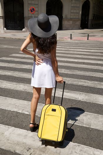 stand on crosswalk with suitcase