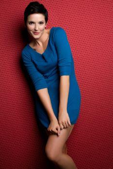 Beautiful blue dress fashion woman