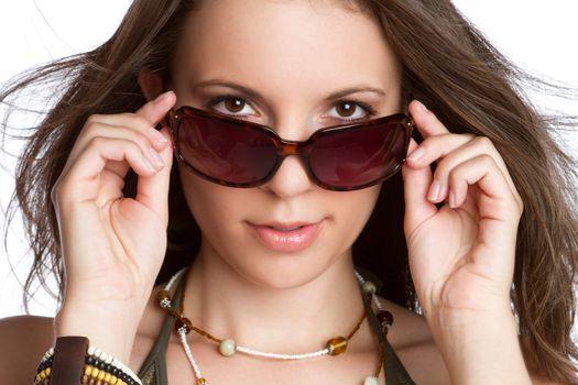 Beautiful sexy young sunglasses woman