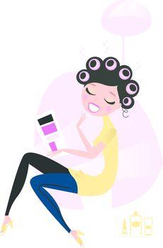 Cute beautiful female sitting in hair salon and reading magazine. Vector cartoon illustration.