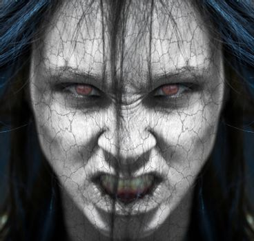 Girl possessed by the devil looks at you out of darkness