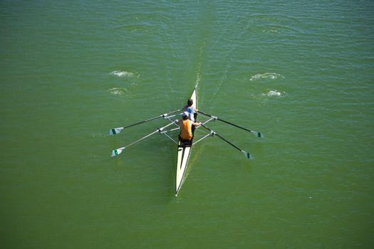 rowing on green water
