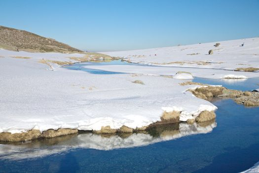 water and snow slope