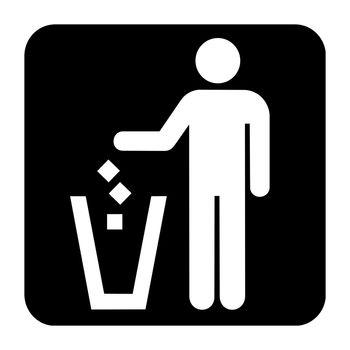 Litter disposal sign