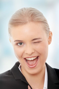 Businesswoman  blinking