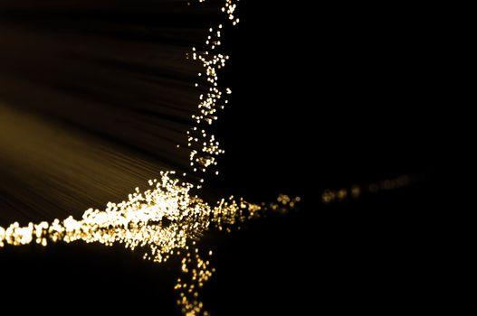 Golden fibre optic strands.