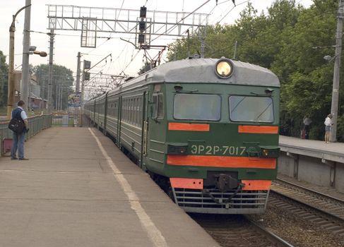 arrival electric train on platform
