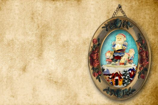 Christmas Cards Santa Claus picture , with space for text,sepia tone
