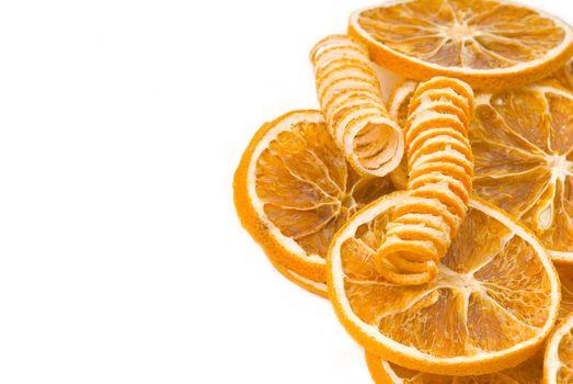aromatic orange slices isolated on white background
