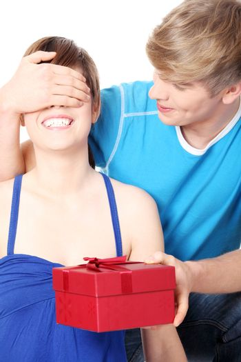 Boy give a gift to his girlfriend