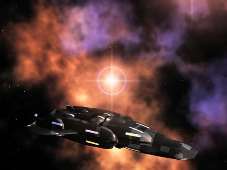 spaceship  against a galaxies background