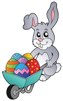 Bunny holding wheelbarrow with eggs - vector illustration.