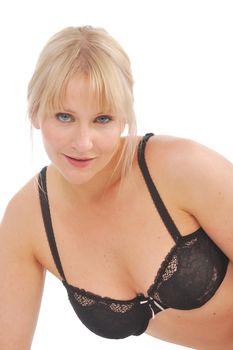 Sexy blonde in black