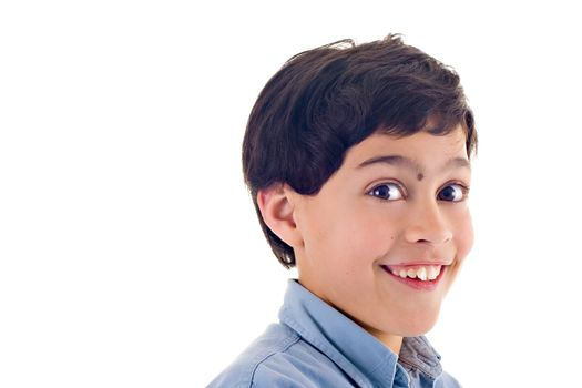 Close up of a boy with a cute expression, over white background.