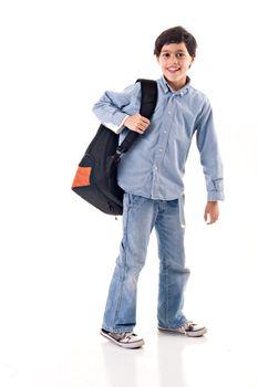 School boy using a backpack