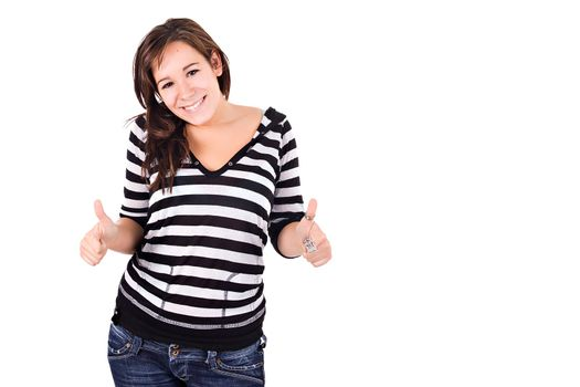 Young woman smiling with thumbs up. Copy space.