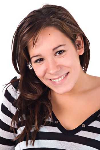 Beautiful young woman smiling. Copy space.