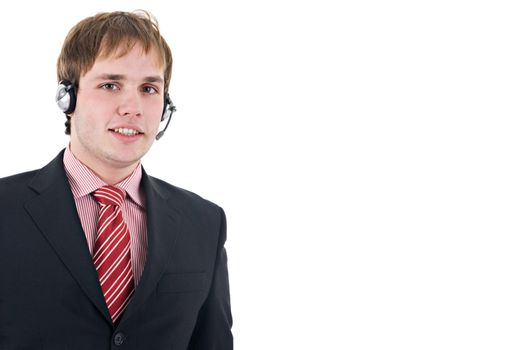 Young assistant with headset, wearing suit and tie. Isolated on white with copy space.