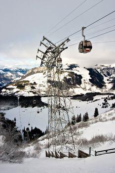 Mountain gondola in Engelberg, Switzerland.